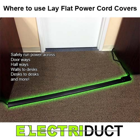 Lay Flat Low Profile Electrical Power Extension Cord