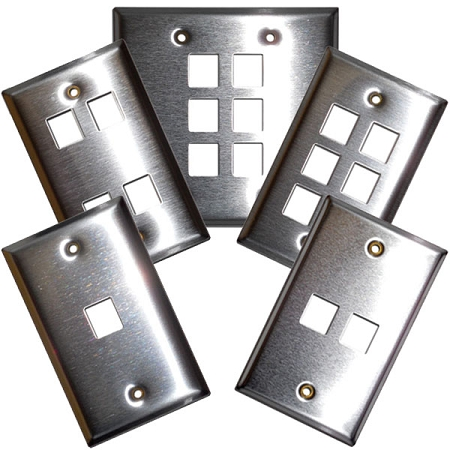 Voice/Data Modular Jack Wall Plates - Stainless Steel - Loaded