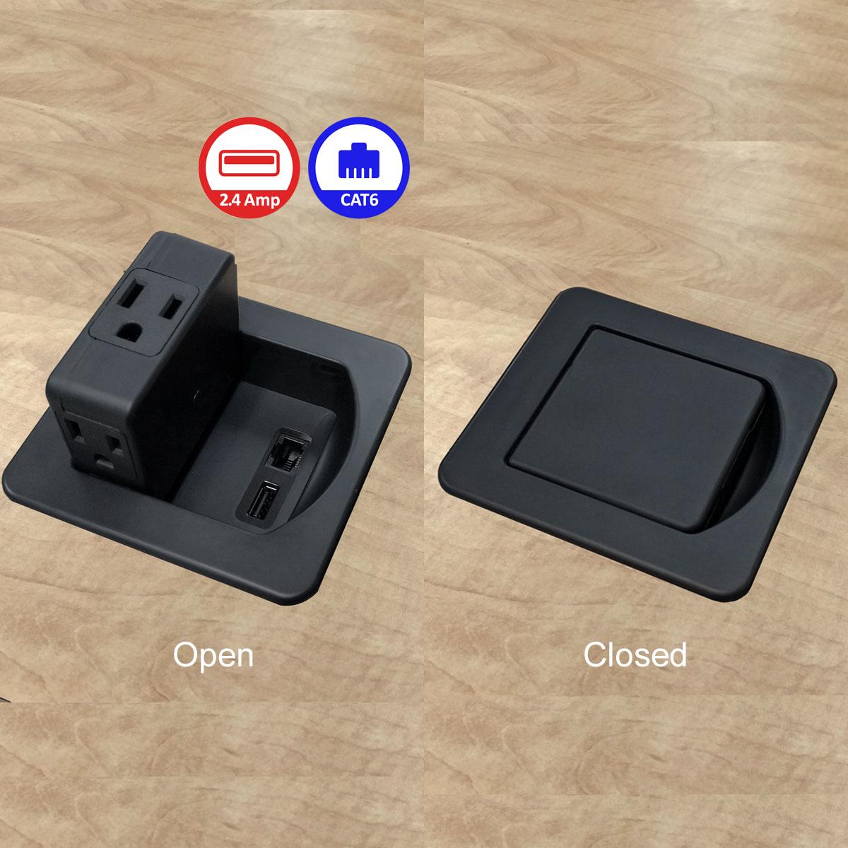 Flip Top Mini In Desk Power Centers Ac Power Outlets