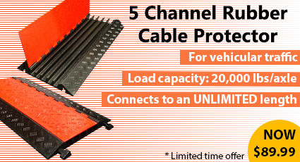 Heavy Duty 5 Channel Rubber Cable Protector