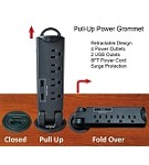 Desktop Pull-Up PowerTap Grommet with Surge Protector & USB