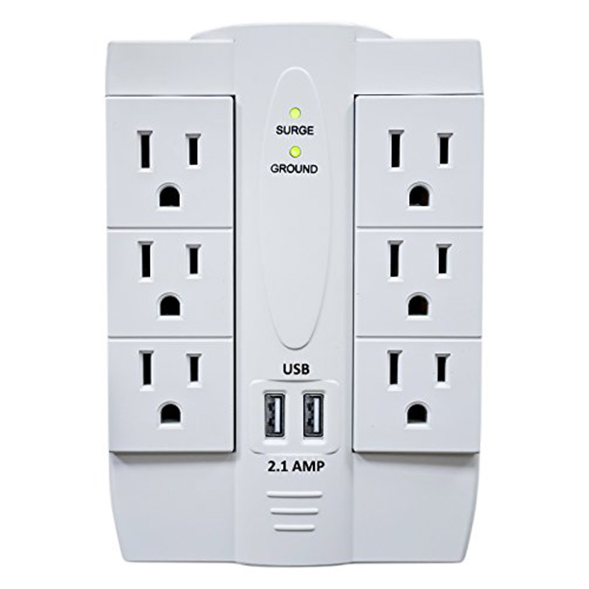 Wall Socket Covers 6 Ac Outlet Swivel Surge Protector Wall Tap With 2 Usb 2.1A