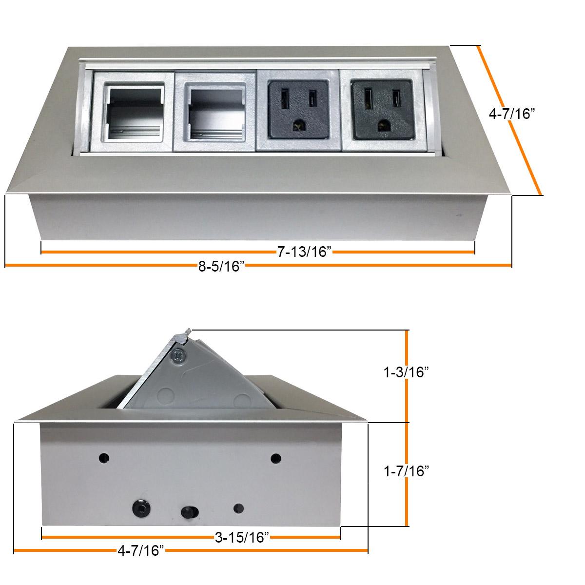 Aluminum Pop-Up Power/Data Distribution Center | Desk Outlets