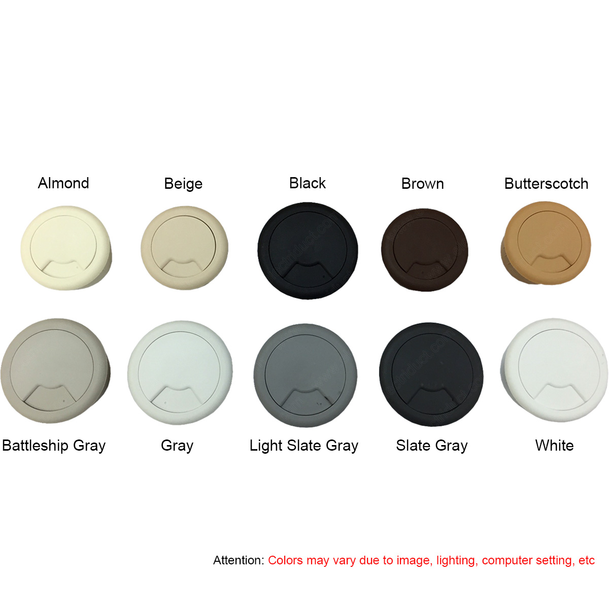 round and flexible desk grommets cable management color options