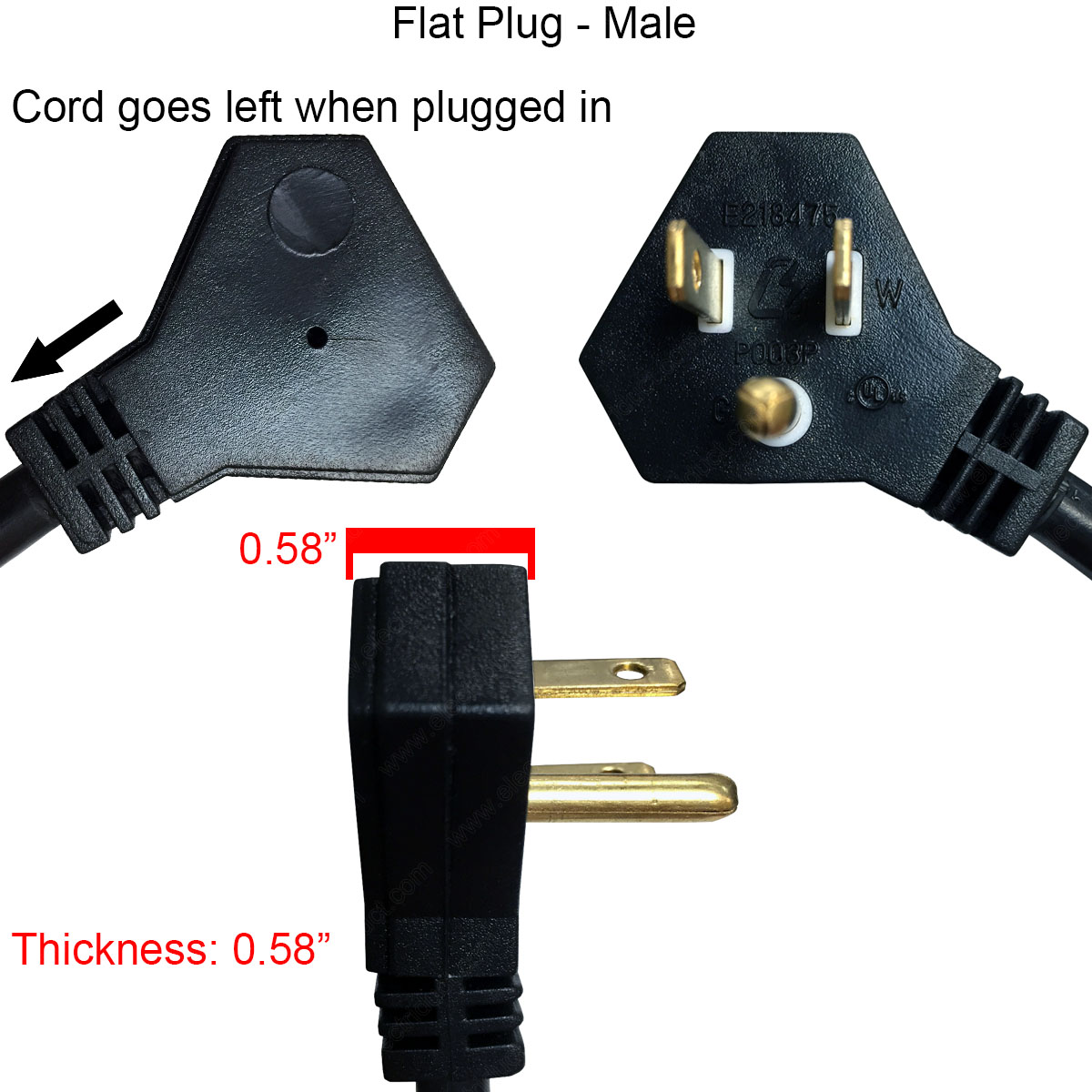 Flat Plug Power Extension Cords Ul Listed 125v 16 3