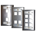 Flush Modular Wall Plates with Label Fields - Stainless Steel - Empty