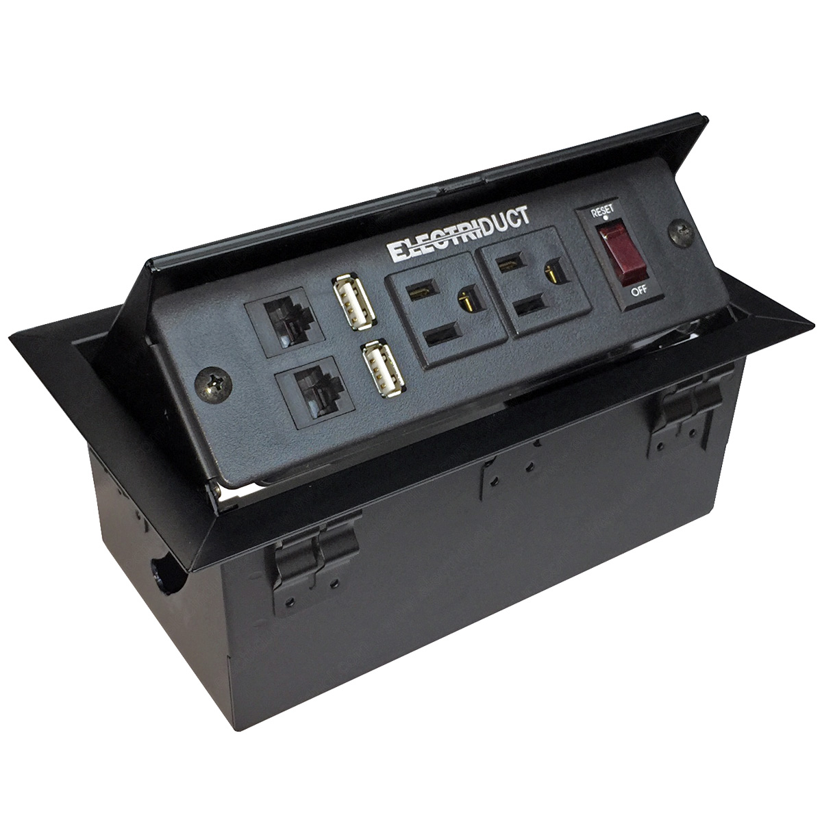 Metal PopUp Table Top Box Power Centers AC Outlets USB Ports RJ - Conference table power hub