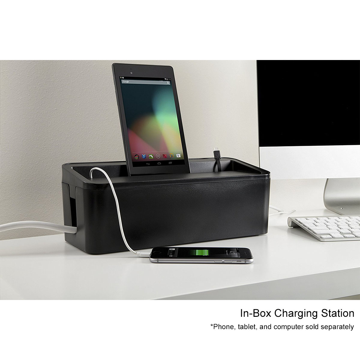 In-Box Under Desk Cable Organizer & In Box Desktop Charging Station ...