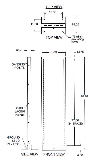 Middle Atlantic R2 Series Seismic Open Frame Rack