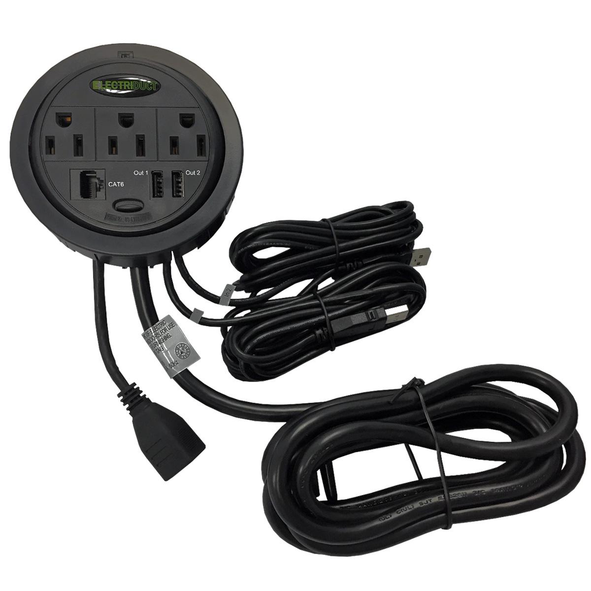2 Pack Black Power Tap Grommet with Hidden Power Center w// 3 Power /& 2 Cat5E