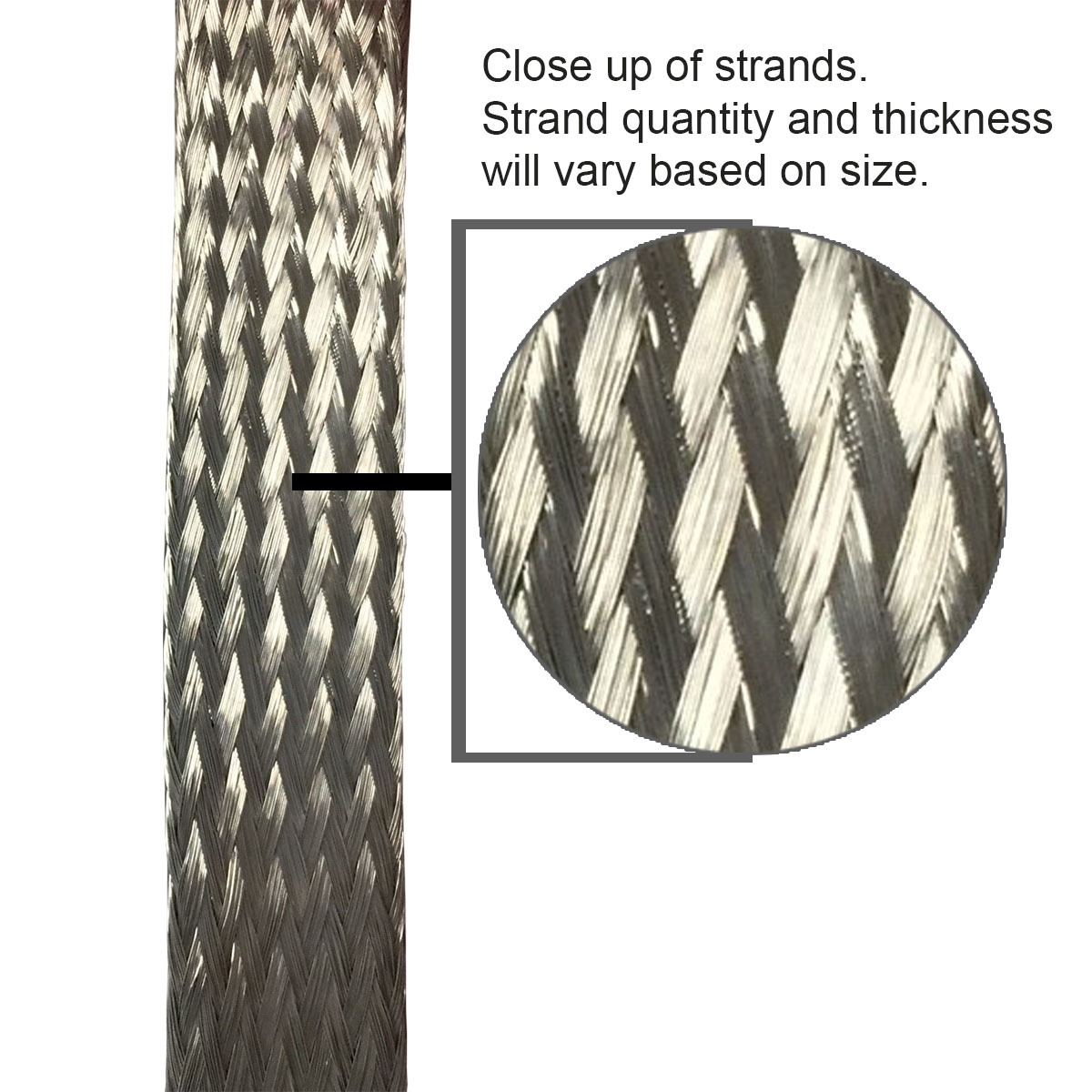 """Stainless Steel FLAT Braid Sleeving 304-3//4/"""" length 10 FT USA MADE"""