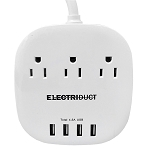 Portable Power Strip with 4 USB Charging Ports (5V/4.5A) and 3 Power Outlet - Electriduct