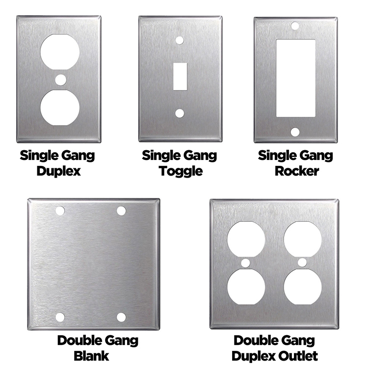 Stainless Steel Wall Plates Single Double Gang Blank Toggle