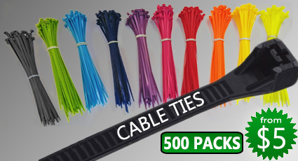 Cable Ties - 500 Pack Rainbow Colors
