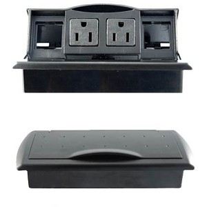 Plastic Pull-Up Desk Top Power and Data Centers