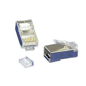 RJ45 Cat6 50 Micron Shielded Plug with Insert for Solid Wires